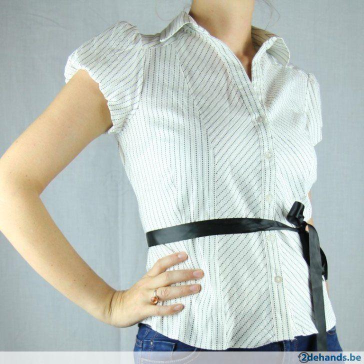 Wit hemd met zwart lint van New Look - Maat 40