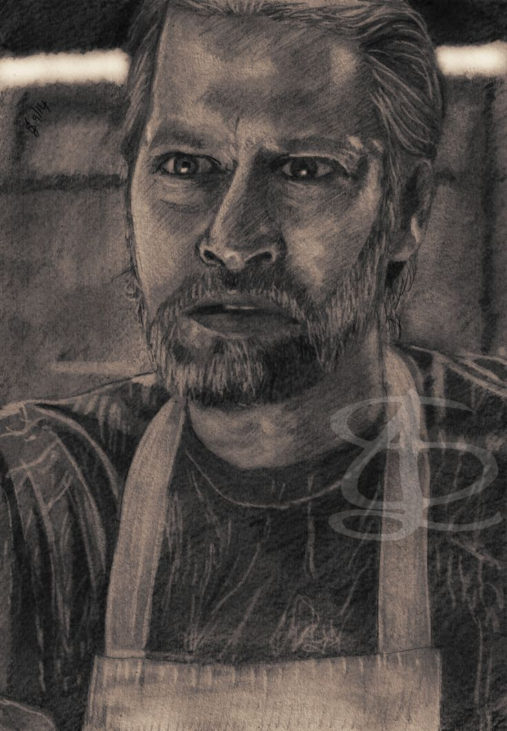 Todd Lowe as Terry Bellefleur in 'True Blood'. Freehand sketch using HB pencil and eraser. Darkened, tinted etc. digitally.