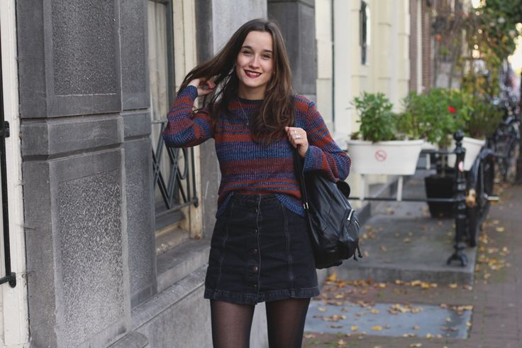 Fashiable, 70's look, Pull & Bear flared jumper, Topshop button skirt