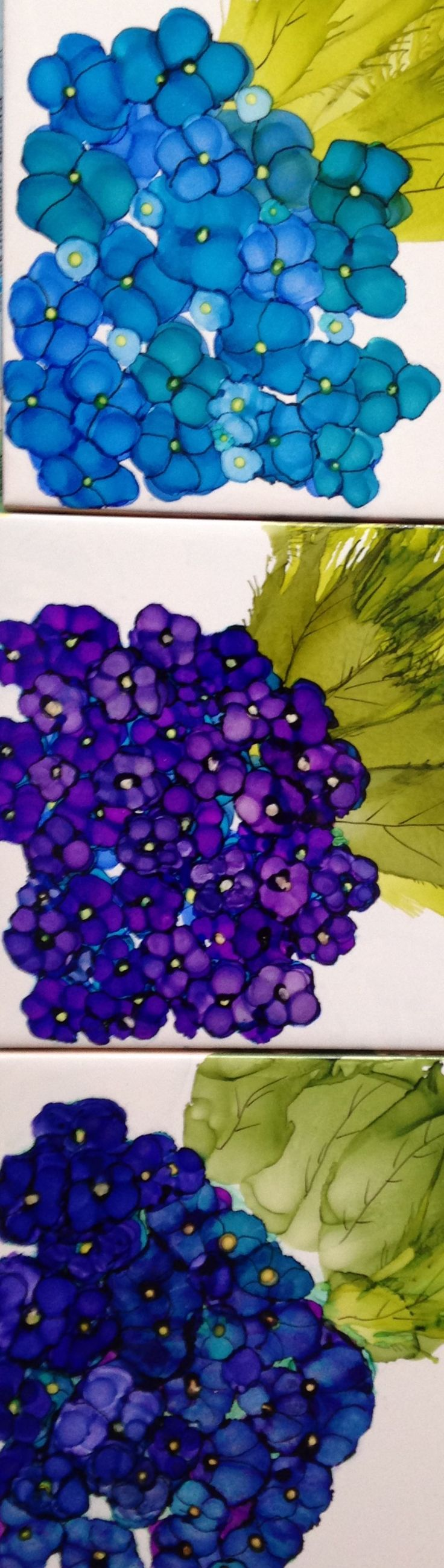 Hydrangea experiments. Layering alcohol inks on tile by Lin Crocco