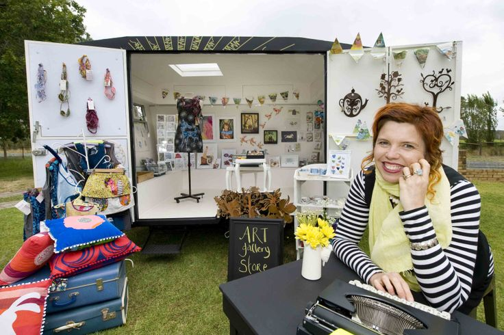 The Adelaide Hills is home to a new and unique   mobile art outlet thanks to the creative vision of   Oakbank resident Rene Strohmayer. Photo: Rene   Strohmayer with her pop up art gallery sells works   from a range of Adelaide Hills artists. Photo by   John Hemmings.   http://adelaidehills.realviewtechnologies.com/