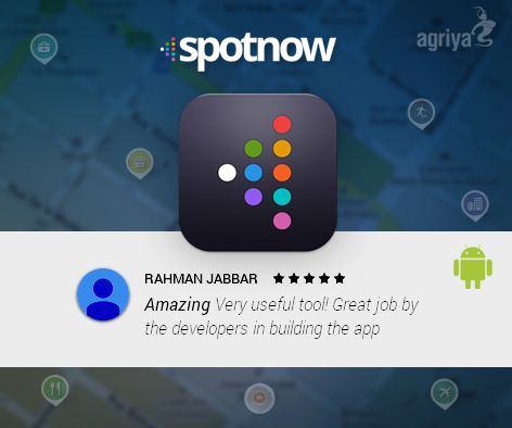 Agriya's #spotnow- Indian city explorer #android app gets 5 star rating and exceptional review from Rahman Jabbar  For more reviews: https://play.google.com/store/apps/details?id=com.agriya.spotnow