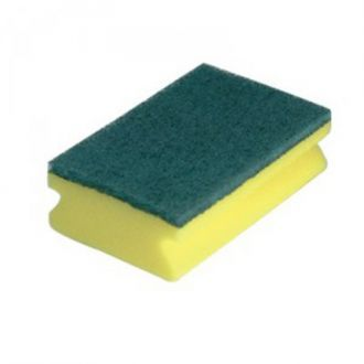 Easy Grip Sponge Scourers x 10 Pack of 10 easy-grip sponge backed scourers.  High quality sponge scourer with easy grip foam backing, protects fingers and keeps the scourer flat for maximum contact.  The scourer fits comfortably in your hand and is ideal for use in schools, hospitals, food factories, hotels and nursing homes.
