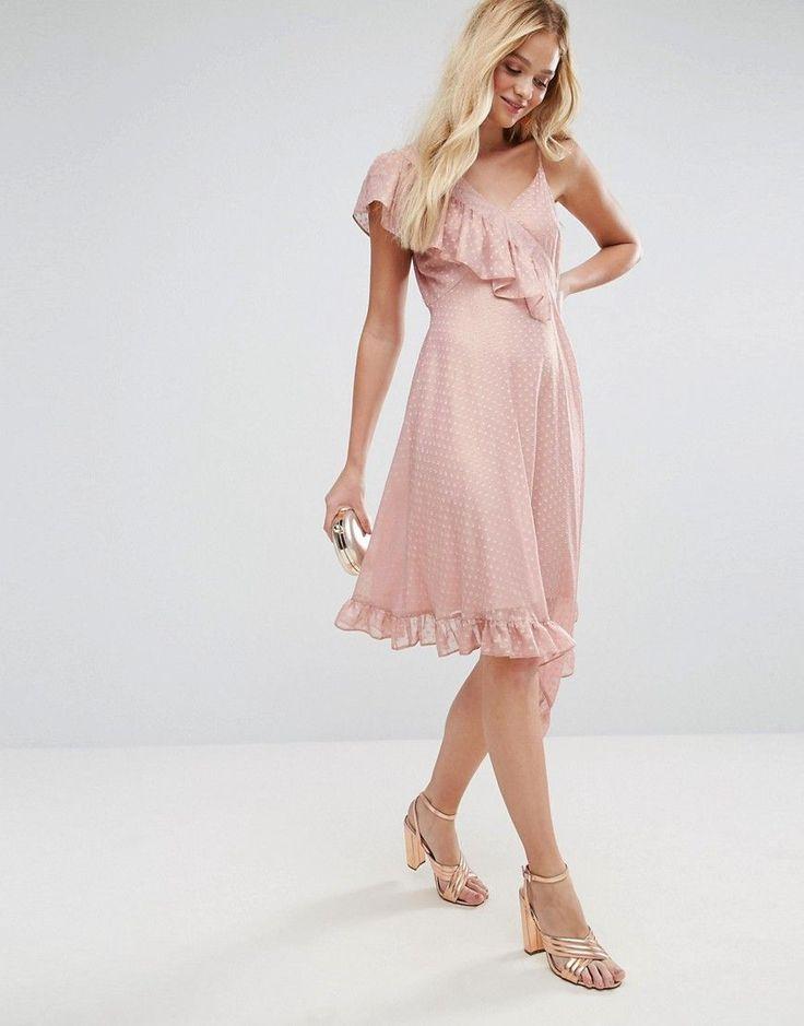 ASOS Asymmetric Midi Tea Dress In Metallic Dobby - Pink