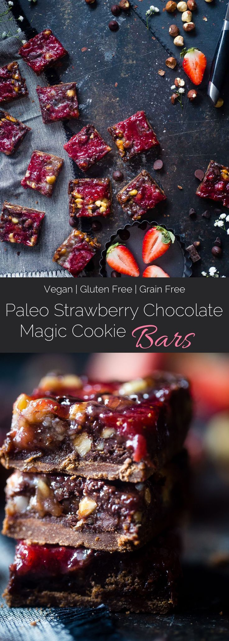 Strawberry Chocolate Paleo Magic Cookie Bars - These magic cookie bars have a sweet strawberry swirl and are SO easy to make! They're a healthy, vegan friendly and gluten free remake of the classic recipe that everyone will love! | http://Foodfaithfitness.com | /FoodFaithFit/
