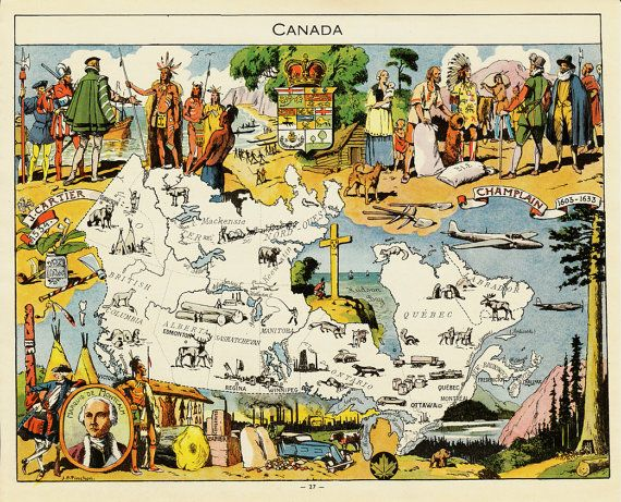 1948 Vintage Canada map print ornamental by ModernAntiquary, $16.00