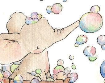 Elephant Bubble Bath. PRINT 8X10. Nursery Art Wall Decor