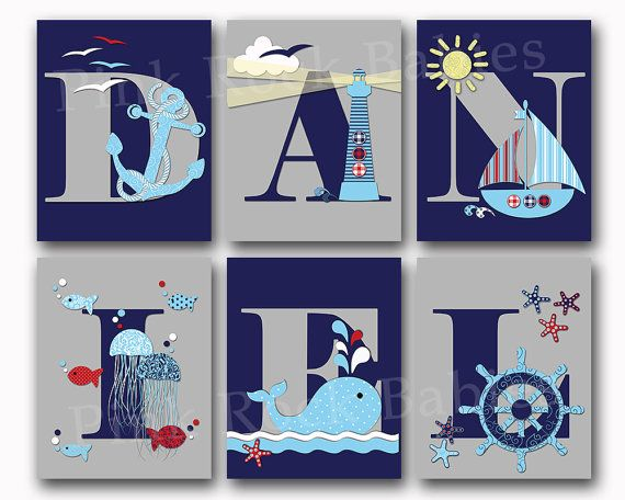 Nautical baby boy name art personalized nursery letters custom