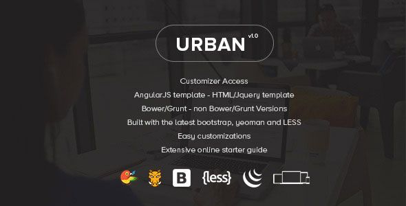 Urban is a premium bootstrap 3 web application administrator format. It comes stuffed with a heap of distinctive designs, pre-manufactured skins(Sidebar & Header), angularJS and HTML forms, Grunt and Bower construct procedures and a large group of different alternatives. Urban gives you what you have to begin with bulding your next web application, CRM, CMS, administrator or dashboard based venture.