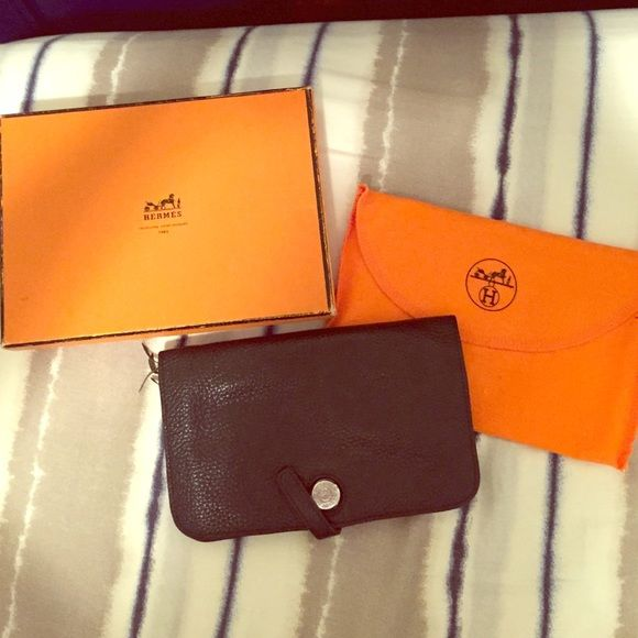 Hermes Wallet Black here new lamb skin wallet and coin purse. Deff inlet worn with love through the years still in Excellent condition. Hermes Other