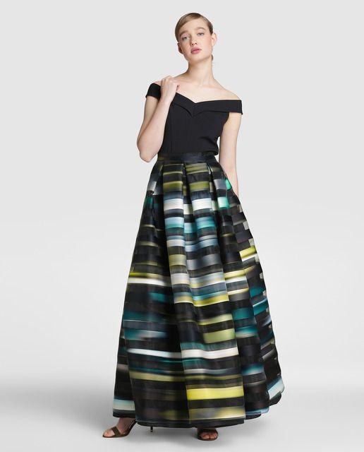 Falda larga de mujer Fiesta El Corte Inglés con estampado de rayas
