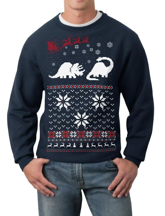 Ugly Christmas sweater -- Santa Dinosaur -- pullover sweatshirt by skipnwhistle