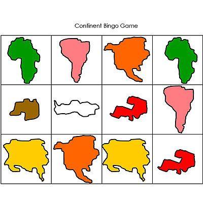 Continent Identification Bingo Game by shape and Montessori color
