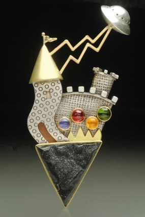 Yumi Ueno18k gold and sterling brooch with onyx, tourmaline, citrine and lolite