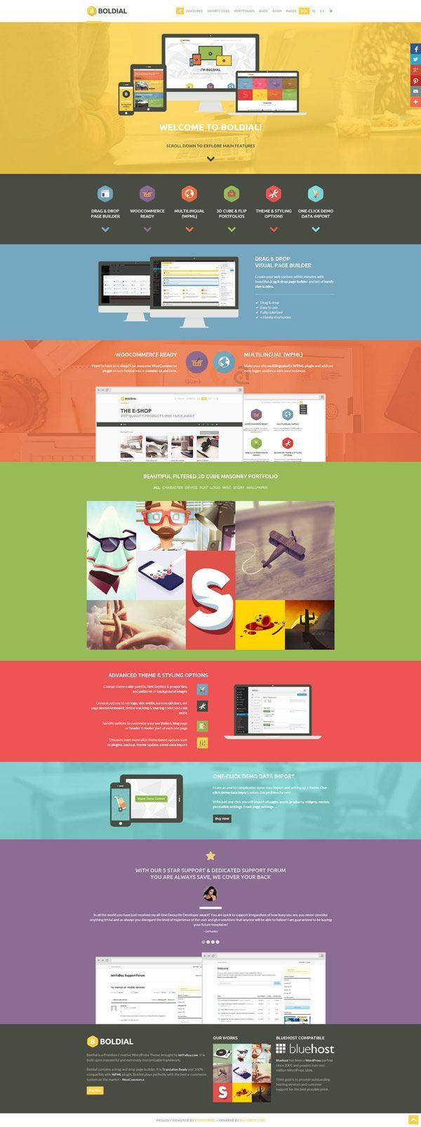Boldial WP, a flat theme with 3D portfolio for WordPress