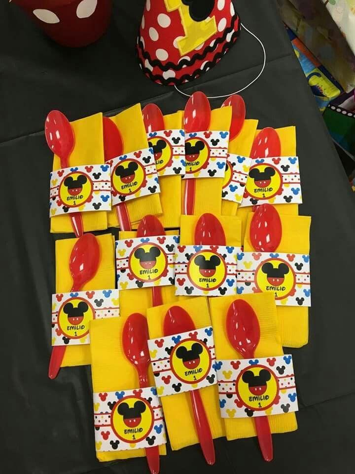 Etiquetas servilletas fiesta mickey
