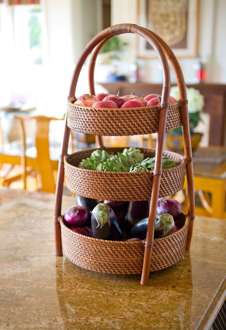 ... Vegetable Basket Organizer Storage Three Tier Woven NEW Vegetables