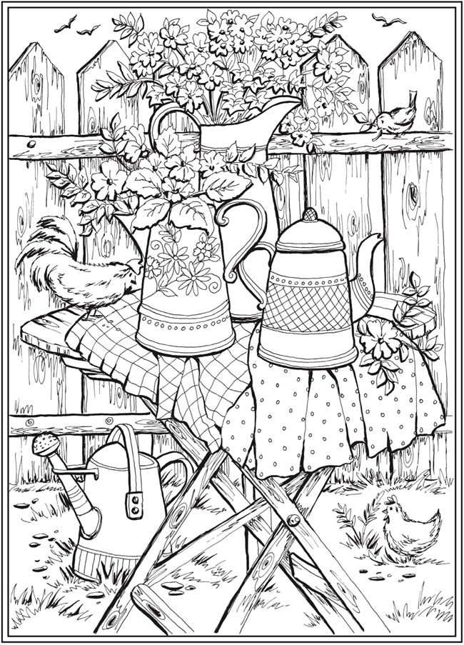 Page 6 of 7 COUNTRY CHARM  a Creative Haven Coloring Book by Teresa Goodridge  Welcome to Dover Publications