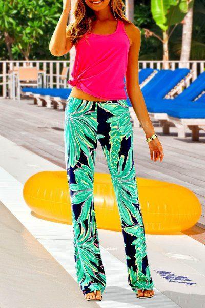 Coconut Tree Print Exumas Pants NEON GREEN: Pants | ZAFUL