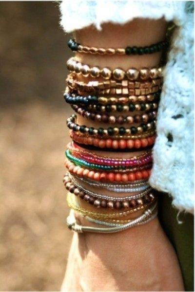 beautiful boho stacked bracelets
