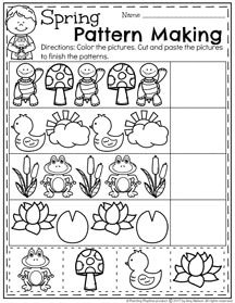 Spring Preschool Patterns Worksheets