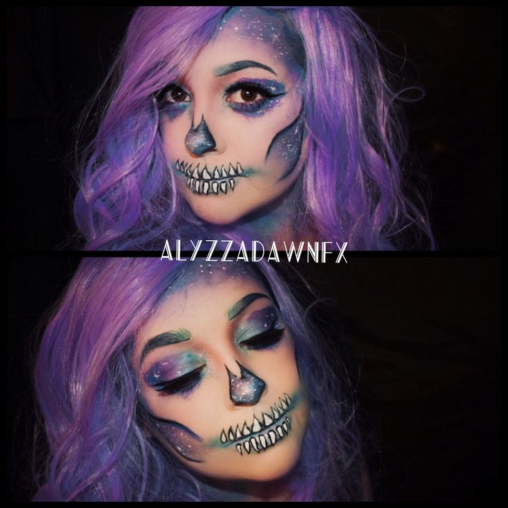 Galaxy skull makeup  Find me on facebook, twitter, and Instagram @alyzzadawnfx   #makeup #galaxy #galaxymakeup #galaxyskull #galaxyskullmakeup #fxmakeup #halloweenmakeup #skull #skullmakeup #alyzzadawnfx #bodypaint #watercolors #specialeffects #specialeffectsmakeup #makeupartist #fxmakeupartist #mua