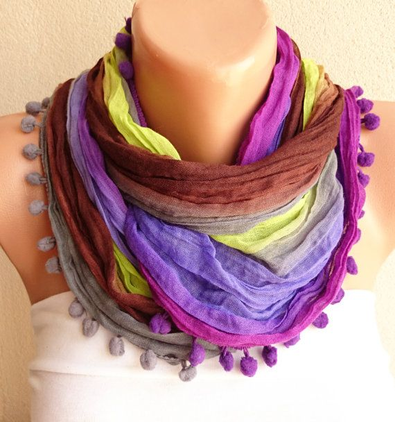 Multicolor Pompom Scarf Cowl Scarf Soft Cotton by ModernScarfPoint