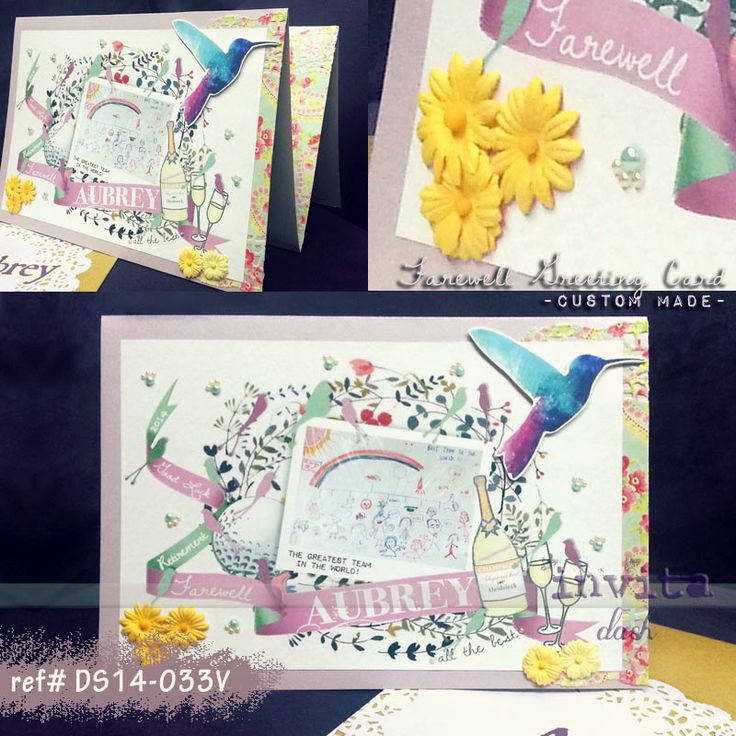 """Handmade, Customised Farewell Greeting Card.  This card is in A4 size with """"W"""" fold. Purple card stock with colourful dolly and 3D deign.  Pls contact us for any questions! Email: invitadash@gmail.com"""