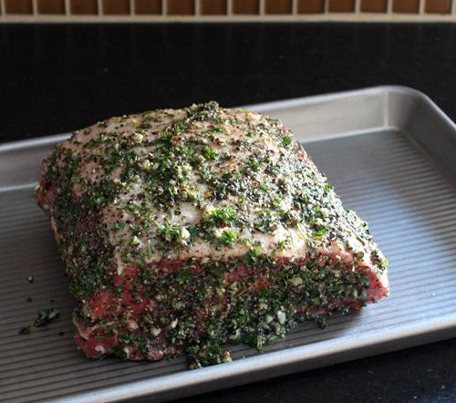 Dec. 2016 - Pepper and Herb Crusted Sirloin Strip Roast, VERY flavorful, but too much pepper for my taste.
