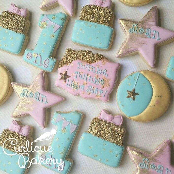 Twinkle twinkle little star themed first birthday decorated sugar cookies
