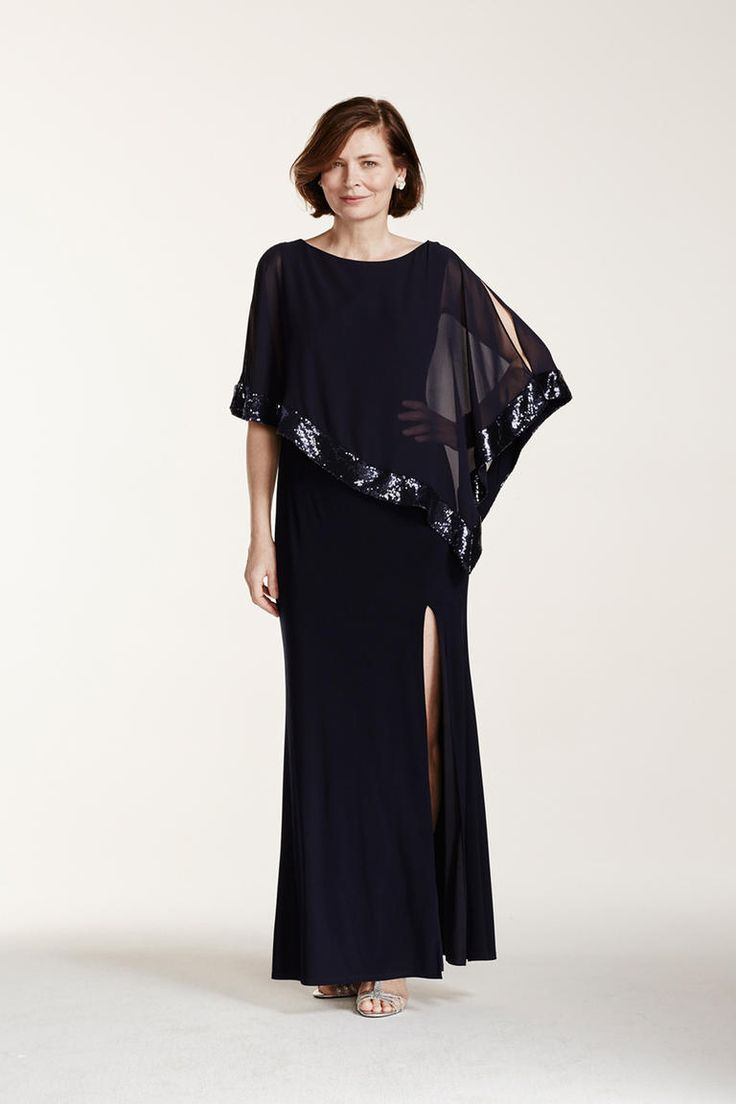 David's Bridal Long Jersey Dress with Sequin Trim Caplet navy mother-of-the-bride dress with cape