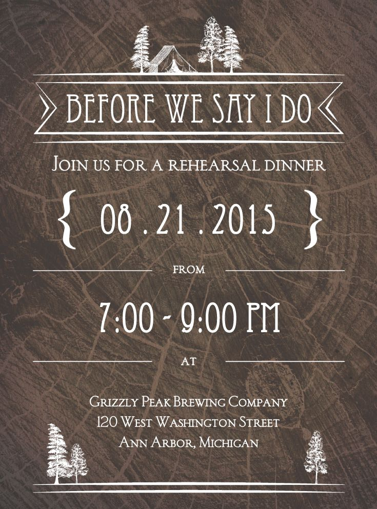 Making Camp Petite Rehearsal Dinner Invitation