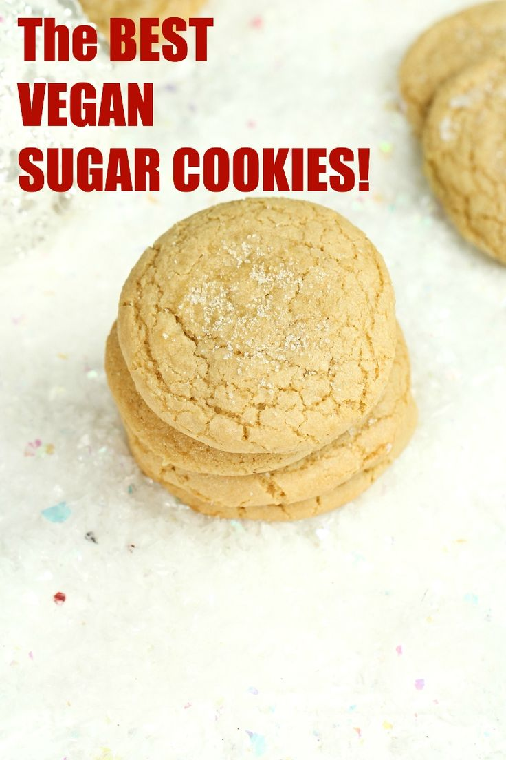 The highly rated by readers BEST Vegan Sugar Cookies that are also gluten-free and not made with any butter! That's a FIRST! Only 8 ingredients for this recipe. Soft, chewy and so perfectly sweet! via @thevegan8