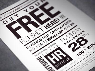 typographic flu shot flyer