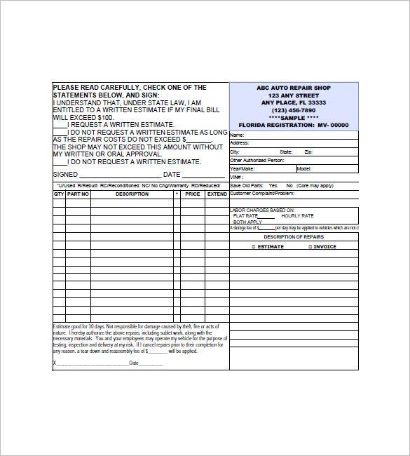 9 Auto Repair Invoice Templates Invoice Template Word Auto Repair