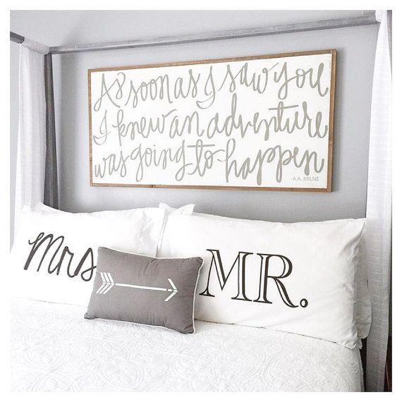 Boda regalo parejas almohada casos Sr. y Sra. fundas novia y novios de boda de regalo su y suyo almohadas fundas de parejas