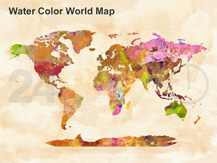 83 best so whats new at 24point0 powerpoint templates slides our single slide ppt watercolor world map looks like a beautiful painting but is very useful gumiabroncs Choice Image
