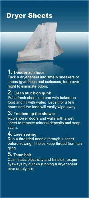 DIY ideas for dryer sheets...in Florida they clean love bugs off your car, too.