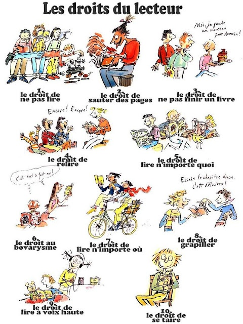 Daniel Pennac : les droits imprescriptibles du lecteur (Hooray- now have the poster in French instead of English only;-)