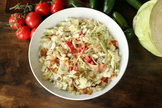 """Keto """"BLT"""" Coleslaw Author: Maria Emmerich Serves: 5 Ingredients 5 strips bacon, reserve bacon ..."""