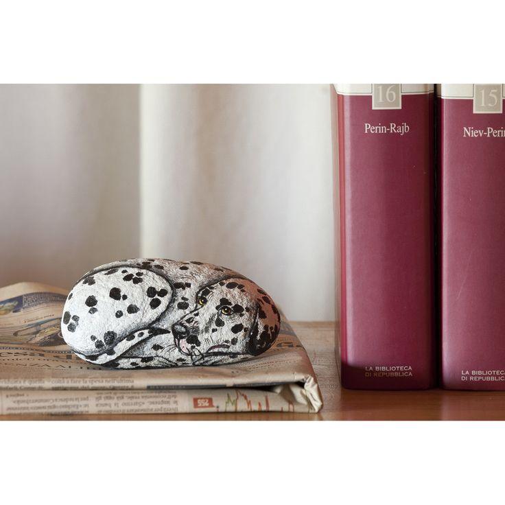 Dipinto+su+pietra+-+CANE+DALMATA+-+Opera+d'arte+-+Idea+regalo+-+oggetto+da+collezione,+by+creo.sostenibile,+20,00+€+su+misshobby.com