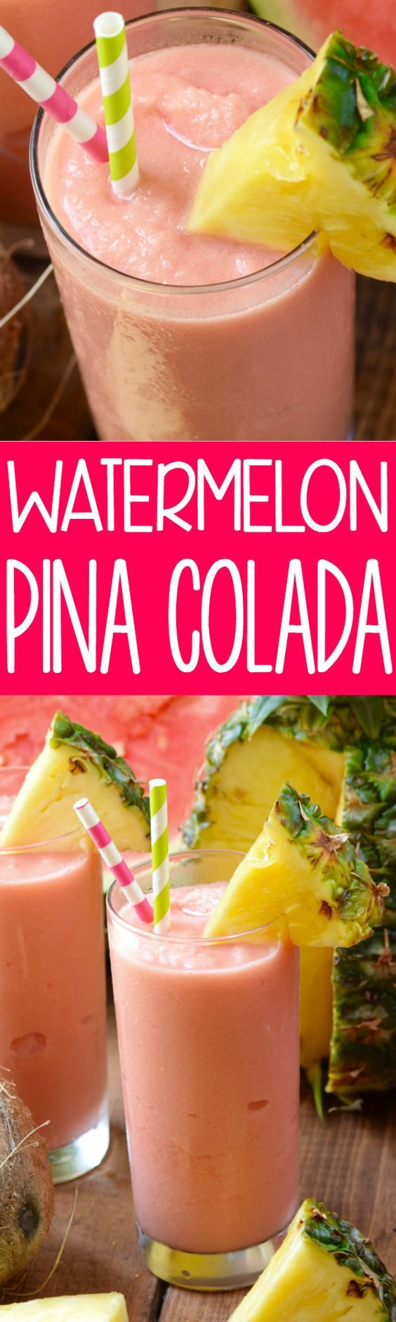 This Watermelon Pina Colada is the perfect summer twist on a regular Pina Colada!