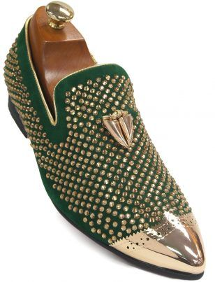 f1549fc4850d Fiesso Men Green Suede Gold Rhinestone Metal Point Toe Loafer Party Shoe