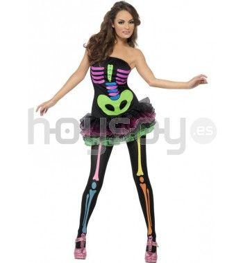 #Disfraz de #esqueleto de neón sexy Fever #Halloween #DIsfraces #Carnaval