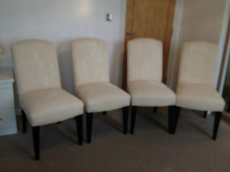 4 Cream Upholstered and Sprung Dining Chairs by Crate and Barrel