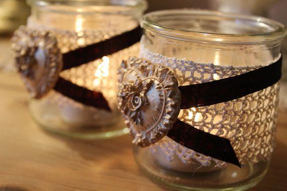 Joli Photophore romantique - dentelle crochetée et ruban - Noël