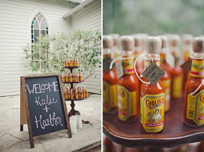 mexican inspired austin wedding uses hot sauce to say gracias love that idea
