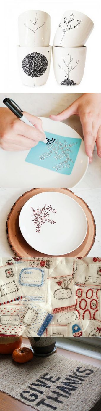 25 Creative DIY sharpie projects: personalized mugs, plates, ziploc bags and placemats (These are great as gifts too!)