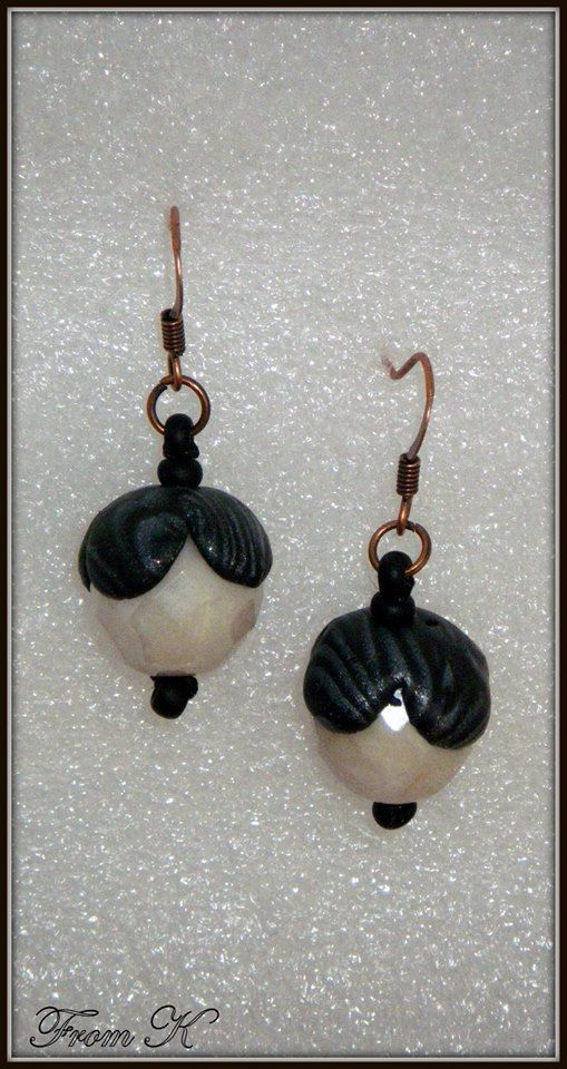 Small, yet elegant #dangle #earrings in shimmering silver-white and black. Czech crystals are used as well as #polymer #clay hand marbled 4 petaled flowers fitted perfectly on top of the crystal. 1,5 cm long, 2,5 with ear wire. For more visit https://www.facebook.com/BeadsFromK/photos