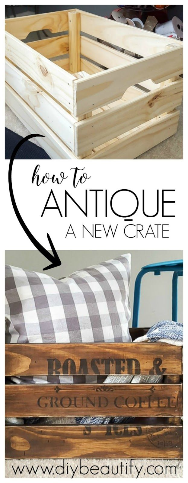 how to antique an unfinished crate